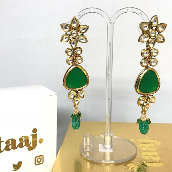 Bhumki Traditional green kundan earrings