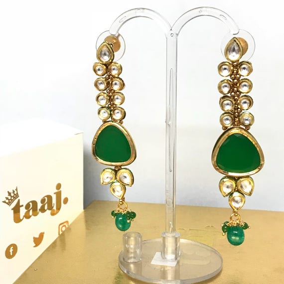 Sabschi Green kundan drop earrings