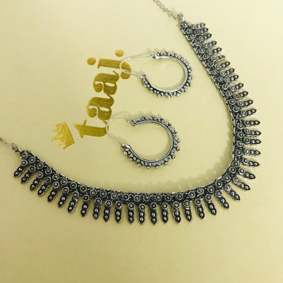 Rey Silver oxidised ethnic tribal boho afghan Indian necklace earrings set