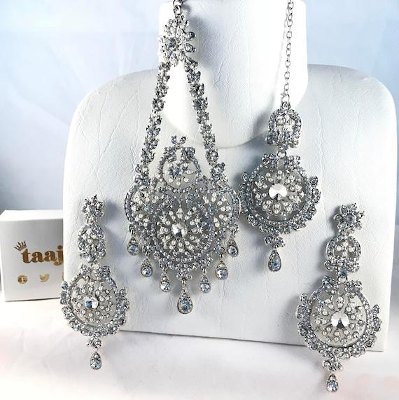 Fiona Silver & pearl diamanté jhumar earrings and tikka set