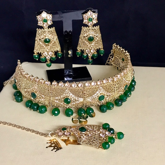 Humera Gold zirconia green choker tops earrings tikka Indian bridal Pakistani jewellery