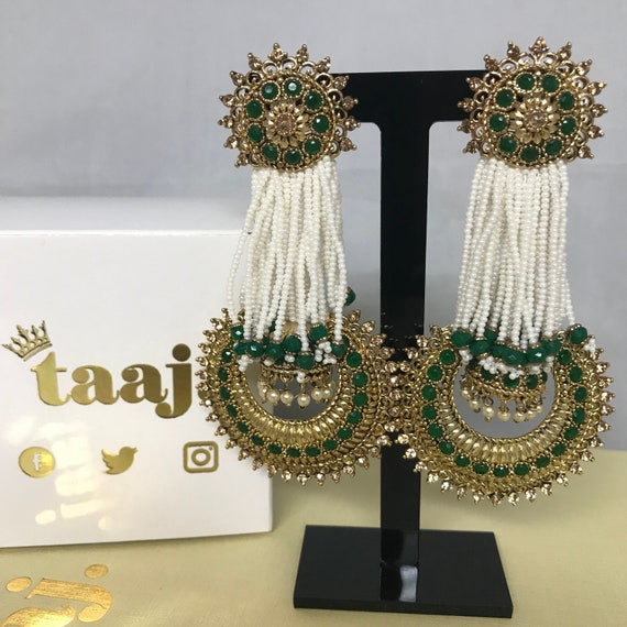 Rekha Gold & green pearl strand jhumka centre earrings, pakistani party prom jewellery