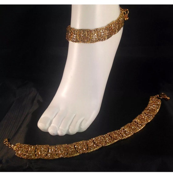 Piya Golden diamanté pair of anklet payal foot chain