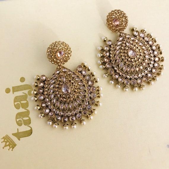 Nadira Gold pearl zirconiatops earrings large statement indian bridal jewellery