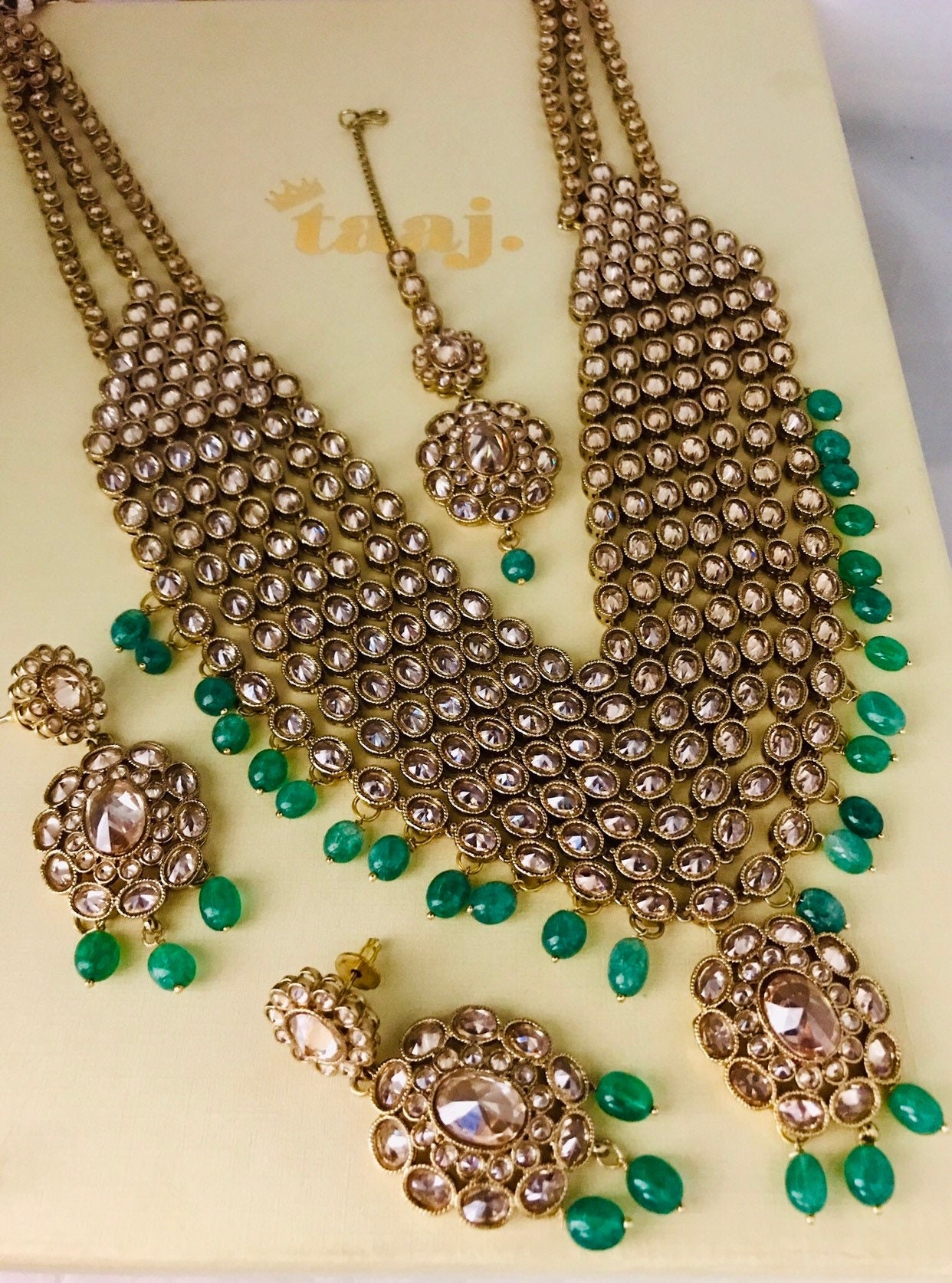 Farida Gold And Green Long Necklace Earrings Tikka Set Indian