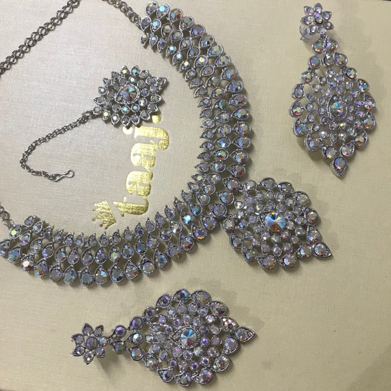 Alice, Silver diamanté necklace earring tikka set