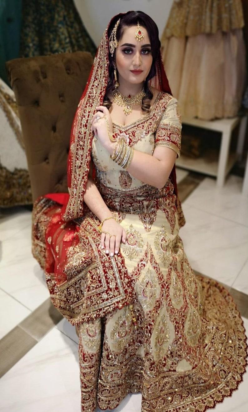 Gold red zirconia Indian bridal necklace earrings tikka headpiece hand panja set Pakistani jewellery