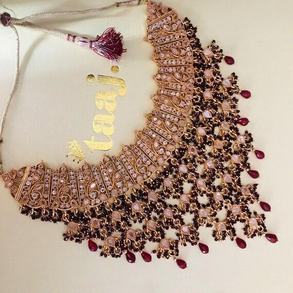 Yaral Gold maroon strand necklace choker watrfall style indian bridal pakistani jewellery