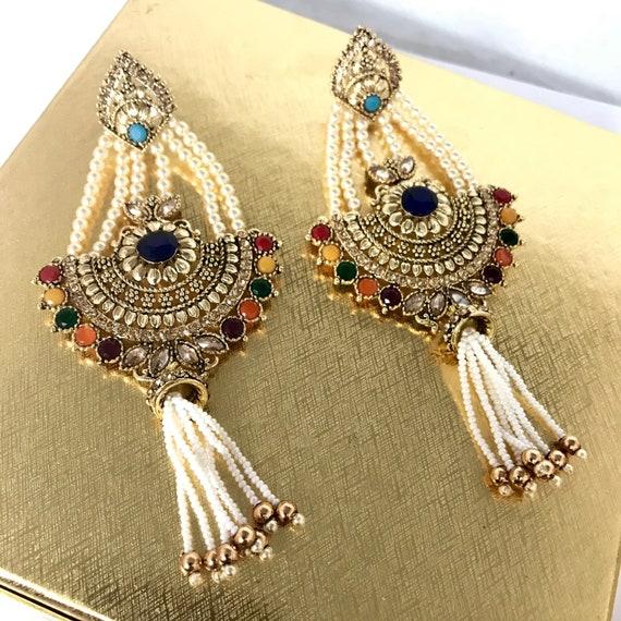 Luizi Gold zirconia multi colour pearl strand earrings
