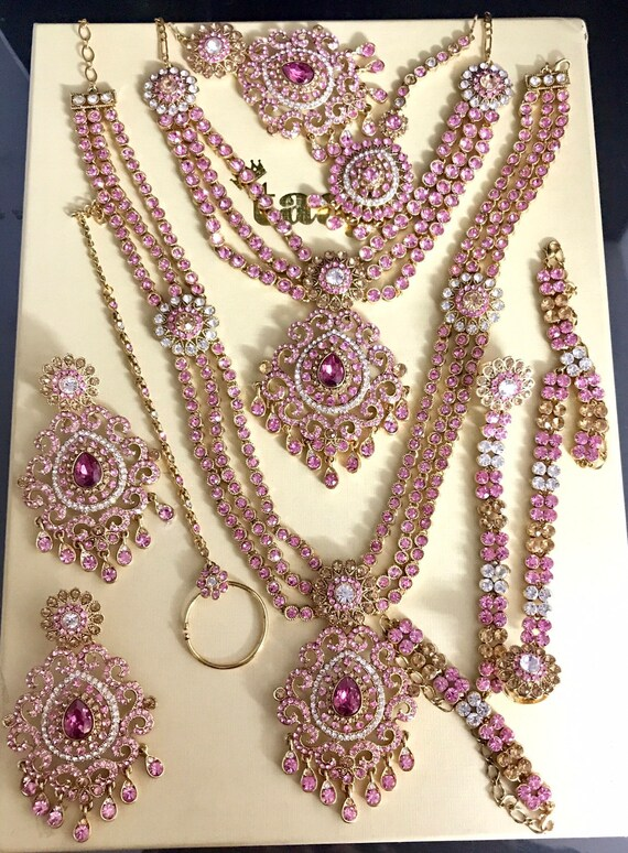Sonakshi Gold pink diamanté 9 piece indian bridal Pakistani jewelry