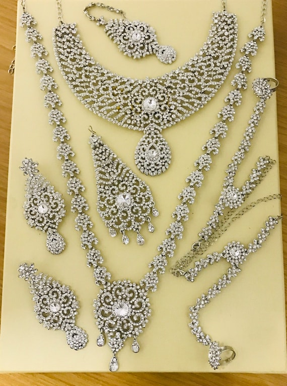 Mahiv Silver diamanté 8 piece indian bridal Pakistani wedding walima jewellery