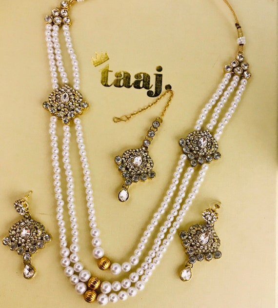 Sam Gold pearl long necklace earrings tikka rani haar mala indian Bridal Pakistani jewelry