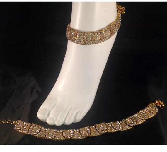 Piya Gold and diamante pair anklet payal foot chain