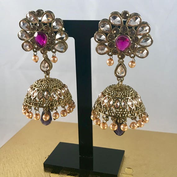 Mulan Antique Gold champagne & plum colour zirconia jhumka earrings