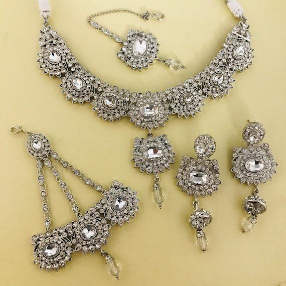 Mica Silver diamanté necklace jhumka earrings jhumar tikka indian bridal jewellery set