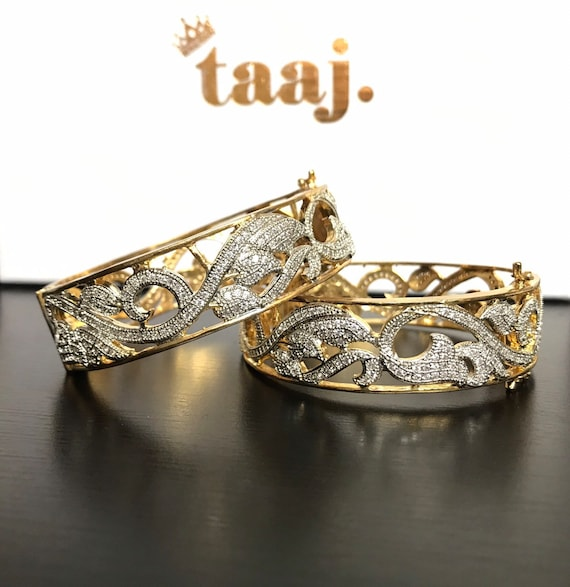 Teekah Gold American diamond CZ pair bangle kangan bracelet kara churi free size clasp cuff indian jewelry