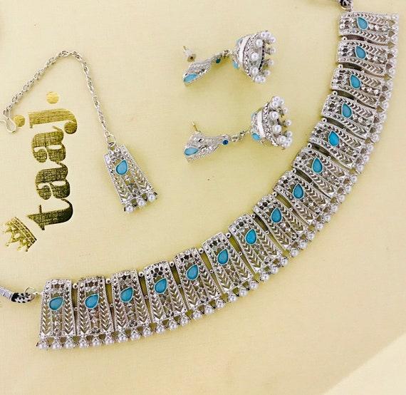 Sara Silver pearl blue choker necklace jhumka earrings tikka set