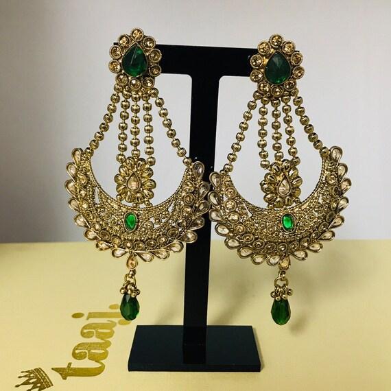 Kahani Antique gold green strand earrings jhumar design Indian Pakistani mehndi party jewellery