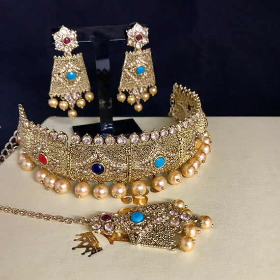 Humera Gold zirconia multi colour choker necklace tops earrings tikka Indian bridal Pakistani jewellery