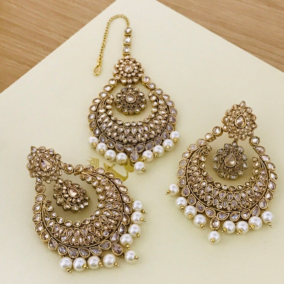 Riana Gold pearl zirconia earrings tikka set kundan polki Indian Bridal pakistani jewelrkk