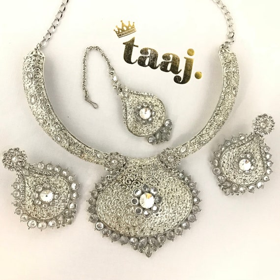 Shilpa Silver traditional Indian pendant necklace earrings and tikka set, bridal Pakistani