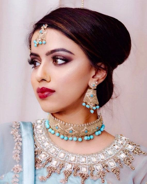 Humera Gold firoza blue choker necklace toos earrings tikka indian bridal pakistani jewellery