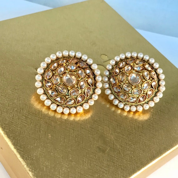 Fluer Indian Pakistani Jewellery gold & pearl Zirconia stud tops earrings