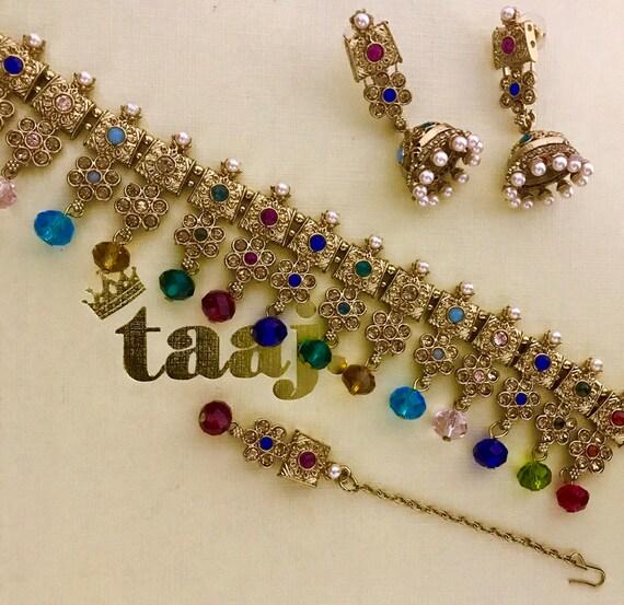 Amelia Gold multi colour zirconia choker necklace jhumka earrings tikka set Indian bridal jewellery