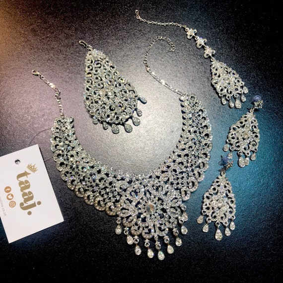 Custom Order for Sarah- Silver diamanté Necklace earrings tikka and jhumar set
