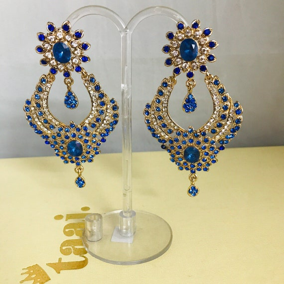 Bisma Gold diamanté royal blue large bling earrings party prom jewellery