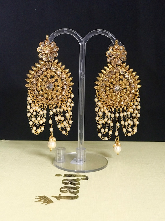 Ella Gold zirconia polki jundan pearl strand statement earrings Indian bride pakistani jewelry