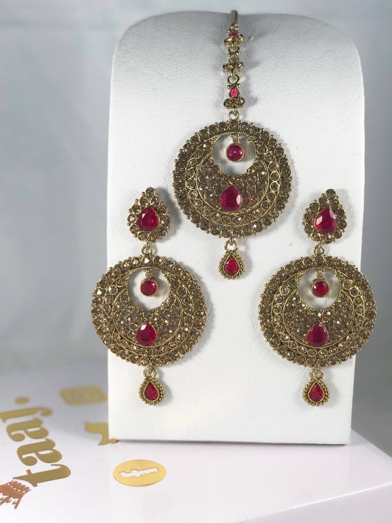 Kora Antique Gold and hot pink earrings and Tikka set.