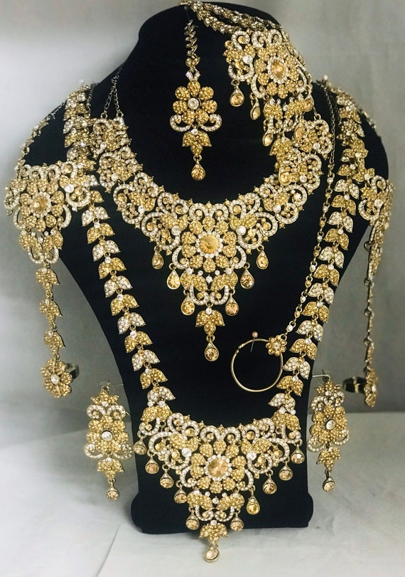 Krish Gold diamanté Indian bridal Pakistani jewellery rani haar jhumar nath necklace earrings handpiece