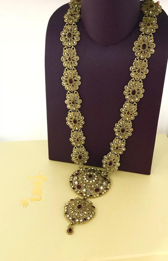 Manik Antique gold & maroon long rani haar necklace , traditional Indian Pakistani Bridal