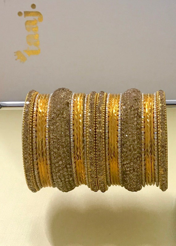 Kim Gold diamanté metal laak bangles churi kara bracelet bollywood indian bridal jewellery