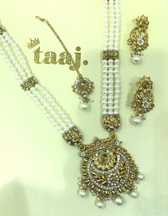 Beryan Gold pearl mala long necklace rani haar earrings tikka Indian Bridal Pakistan jewelry