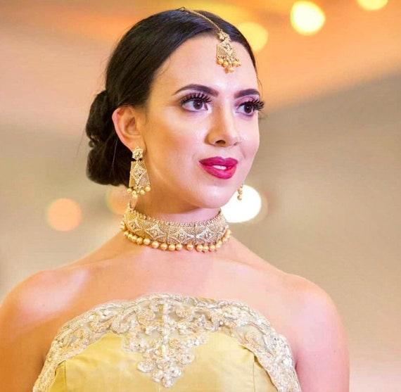Humera Gold zirconia pearl choker necklace tops earrings tikka set indian bridal Pakistani jewellery