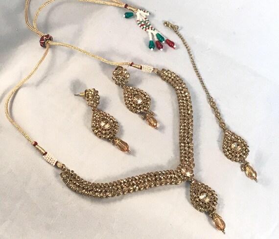Ariel Traditional style Necklace earrings and tikka golden Diamanté set indian bridal Pakistani jewellery
