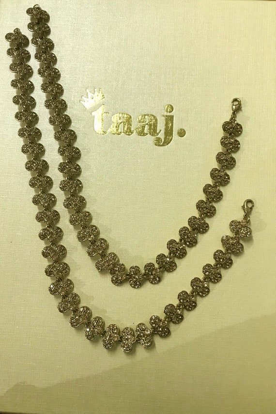 Pari Gold diamanté pair of payal anklet foot chain chanjar indian Bridal jewellery
