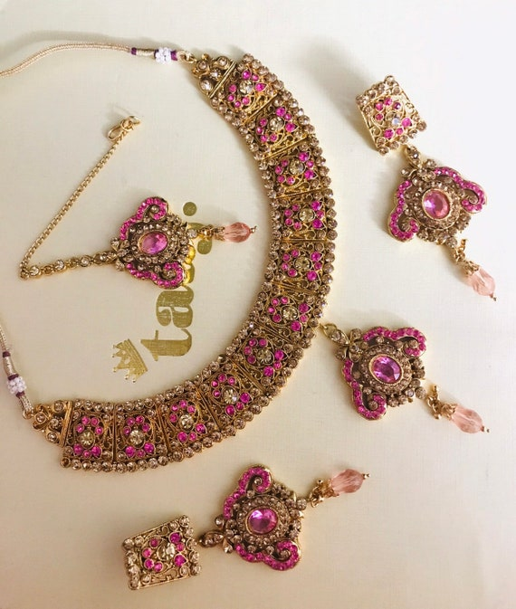 Needan Gold pink diamante necklace earrings tikka set indian bridal Pakistani jewelry