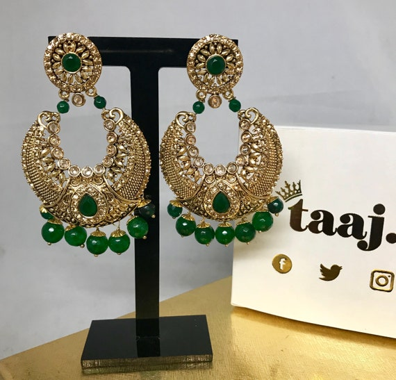 Gauri Gold polki green pearl chaand bali style earrings
