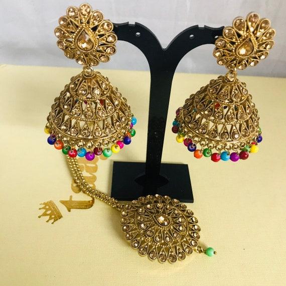 Nur Antique gold multi colour jhumka earrings and tikka set Indian bridal Pakistani jewellery