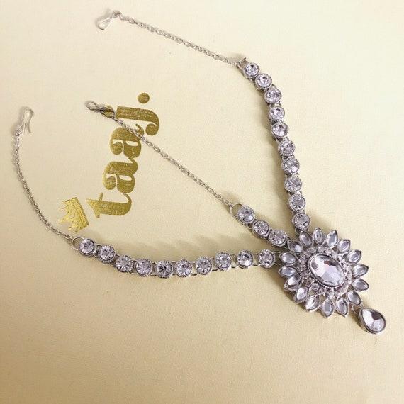 Turila Silver head piece tikka matha patti boho grecian hair indian jewellery