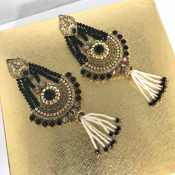 Luizi Gold zirconia black bead strand pearl earrings