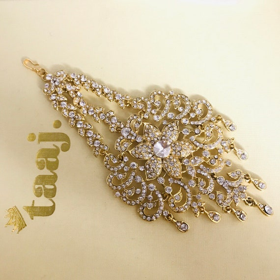 Lisa Gold diamanté jhumar passa side headpiece hijab bridal jewellery