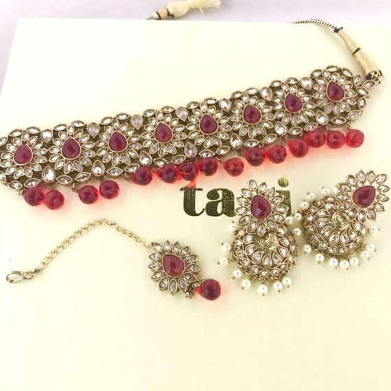 Aiza Antique gold & red zirconia choker set with jhumka earrings