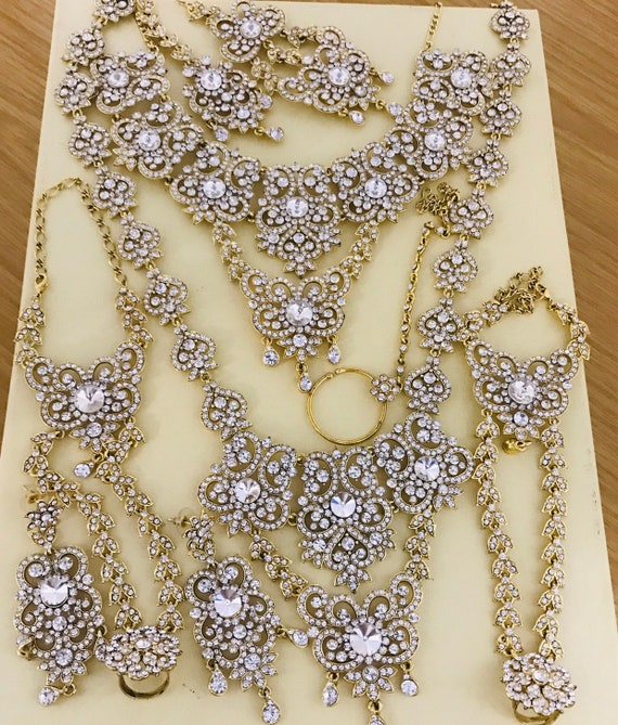 Alka Gold diamanté Indian bridal Pakistani jewelry 9 pieces set