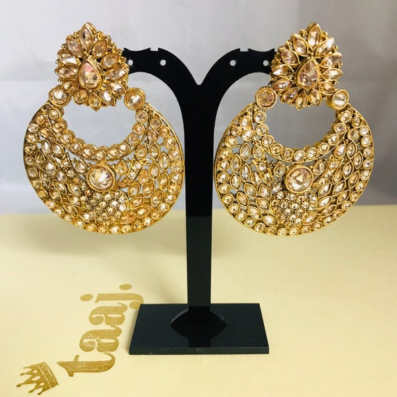 Anara Gold polki chaand bali earrings Indian bridal party prom statement Pakistani jewellery