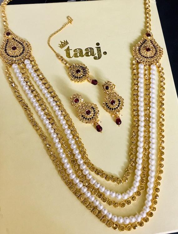 Anju Gold maroon pearl long necklace rani haar mala earrings tikka Indian bridal jewellery