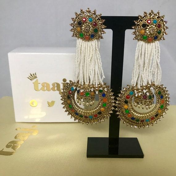 Rekha Gold multi colour bead pearl jhumka style earrings indian bridal Pakistani jewellery